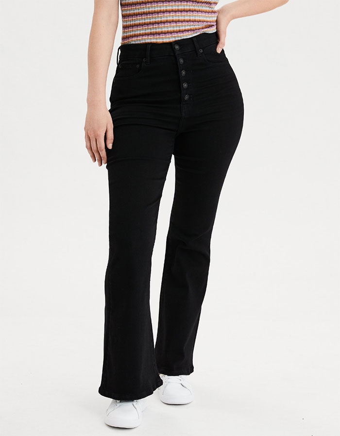 American Eagle Outfitters Next Level Curvy Highest Waist Flare Jean in Bold Black
