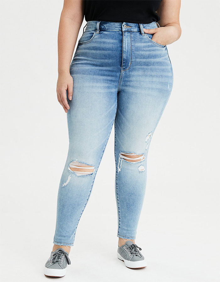 More Inclusive Jean Sizes from American Eagle Outfitters Next Level Curvy Highest Waist Jegging in Authentic Light