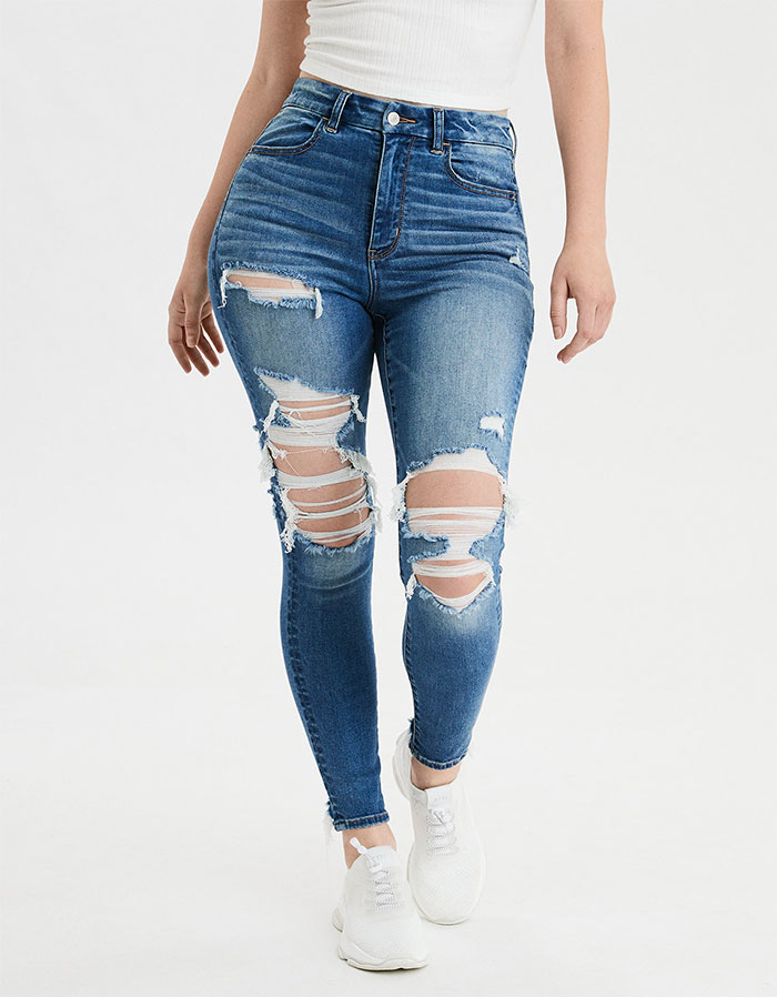 More Inclusive Jean Sizes from American Eagle Outiftters Next Level Curvy Super High Waist Jegging in Cool Torn