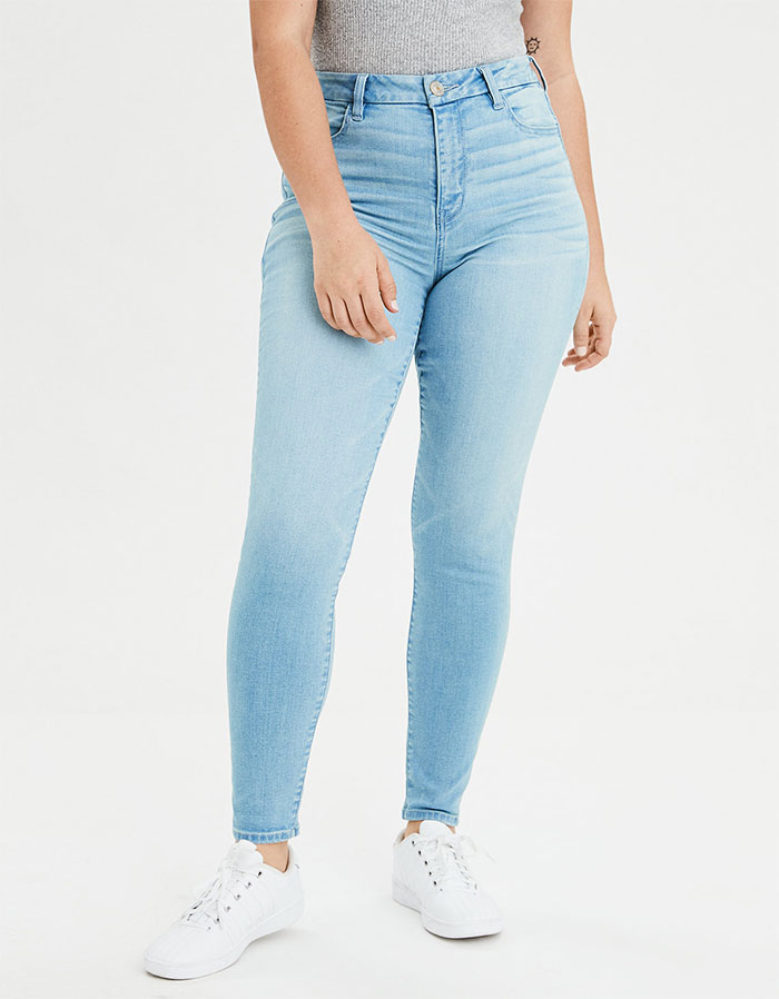 More Inclusive Jean Sizes from American Eagle Outiftters Next Level Curvy High Waist Jegging in Icy Blue