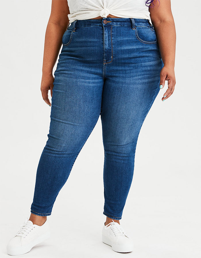 More Inclusive Jean Sizes from American Eagle Outfitters Next Level Curvy High Waist Jegging in Fresh Bright