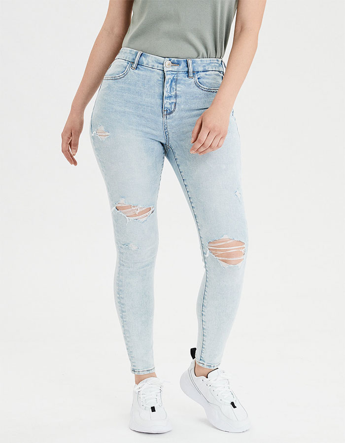 More Inclusive Jean Sizes from American Eagle Outfitters Next Level Curvy High Waist Jegging in Distressed Icy Blue