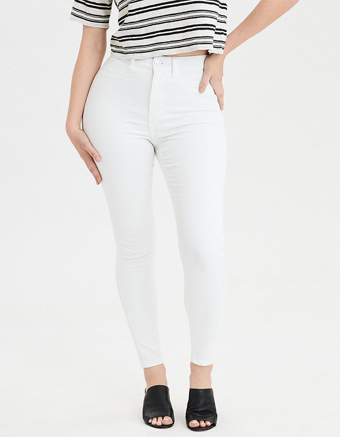 More Inclusive Jean Sizes from American Eagle Outfitters Next Level Curvy High Waist Jegging in Bright White