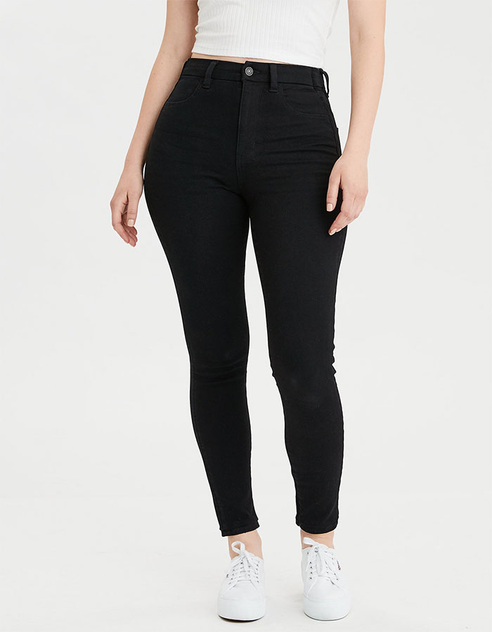 More Inclusive Jean Sizes from American Eagle Outfitters 360 Next Level Curvy Super High Waisted Jegging in Onyx Black