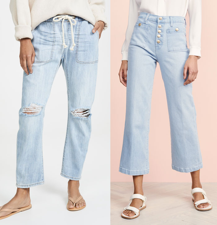 Two wide leg jeans, one with ripped knees