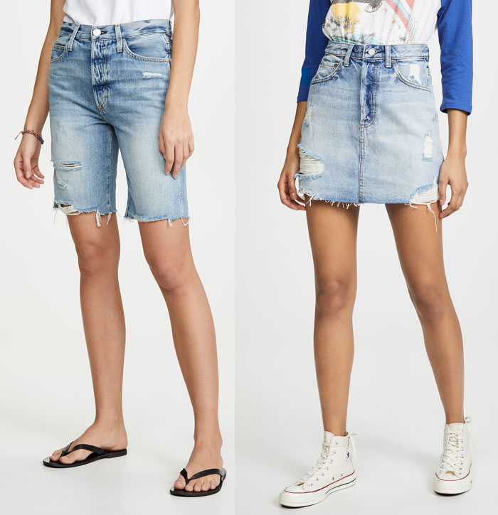 A pair of shorts and a denim skirt