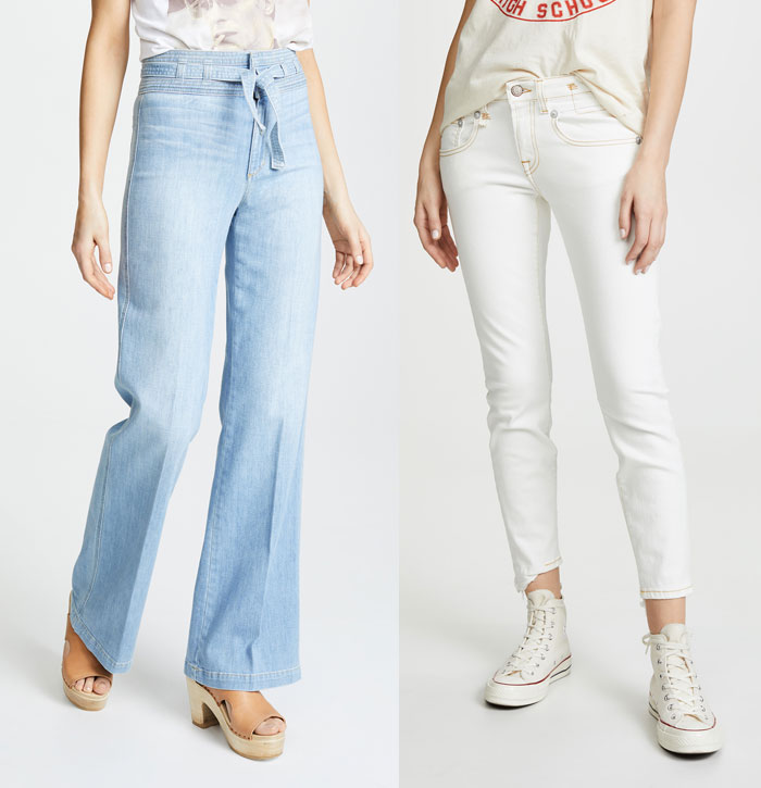 Wide Leg jeans and white skinny jeans