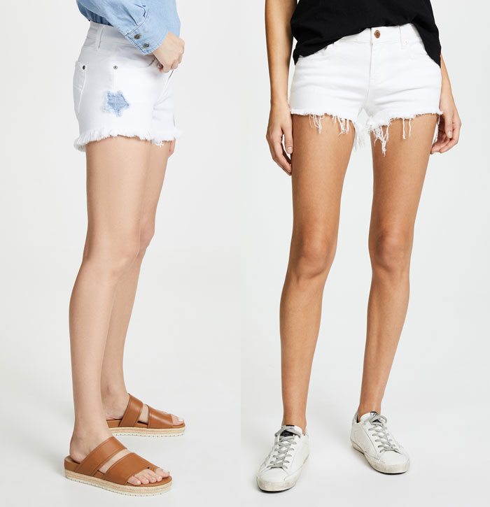 Two white jean shorts