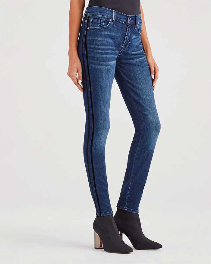 7 For All Mankind b(air) Authentic Denim The Ankle Skinny with Double Velvet Stripes in Chance