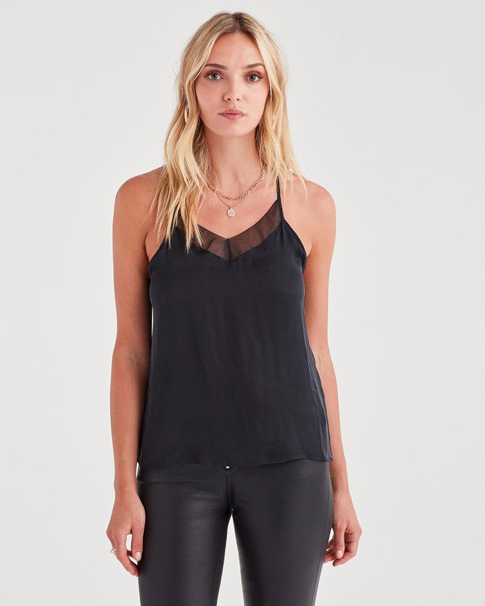 7 For All Mankind Cupro Cami in Black