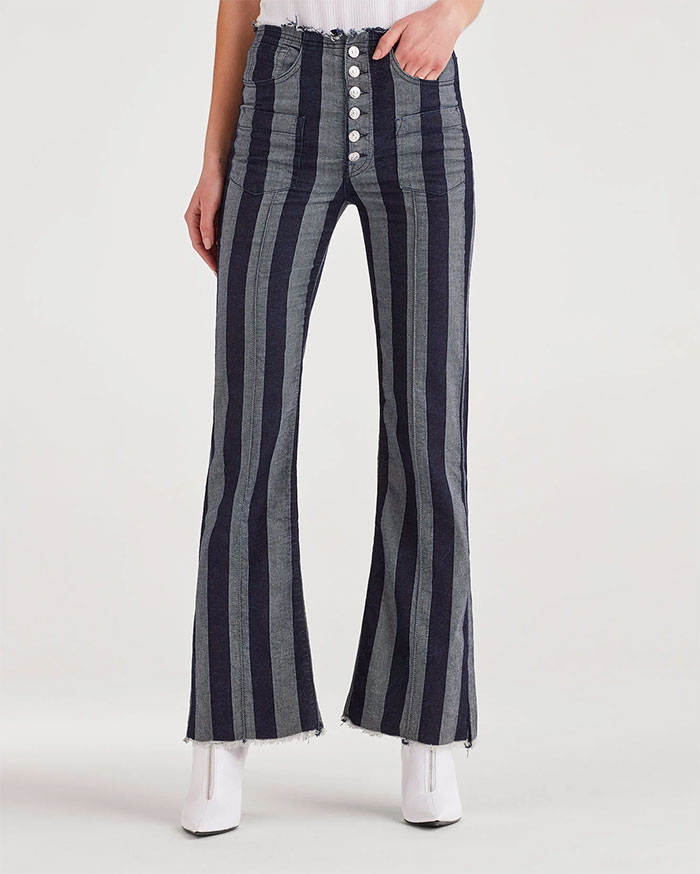 Picks From the 7 For All Mankind Annual Warehouse Sale - Marques Almeida x 7FAM High Waist Flare in Blue with Stripes