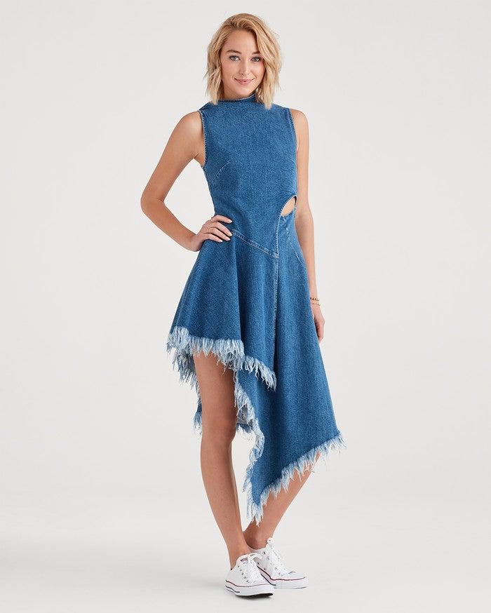 Marques Almeida x 7FAM Asymmetrical Dress in Mid Blue