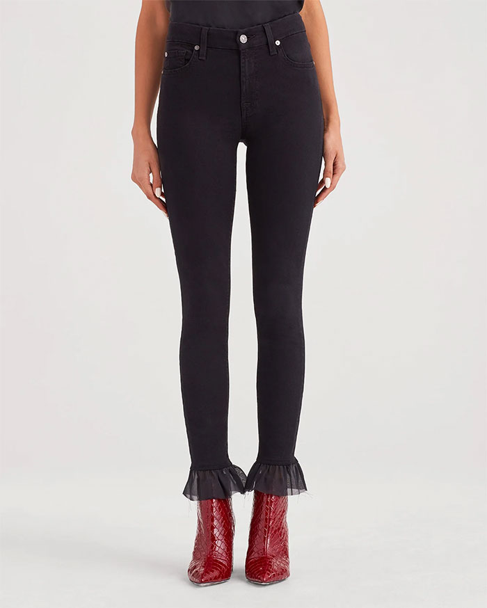 Picks From the 7 For All Mankind Annual Warehouse Sale - 7 For All Mankind b(air) Denim Ankle Skinny with Organza Hem in Black