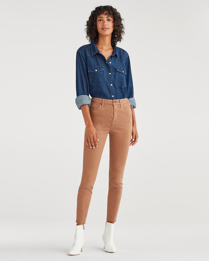 7 For All Mankind High Waist Ankle Skinny in Coated Penny
