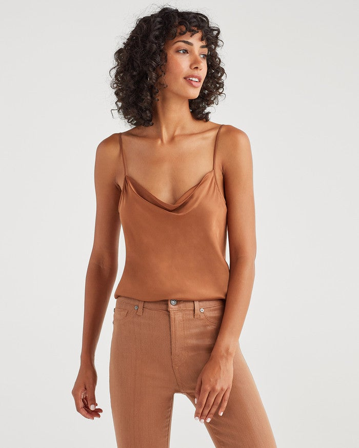 7 For All Mankind Satin Cowl Neck Tank in Penny