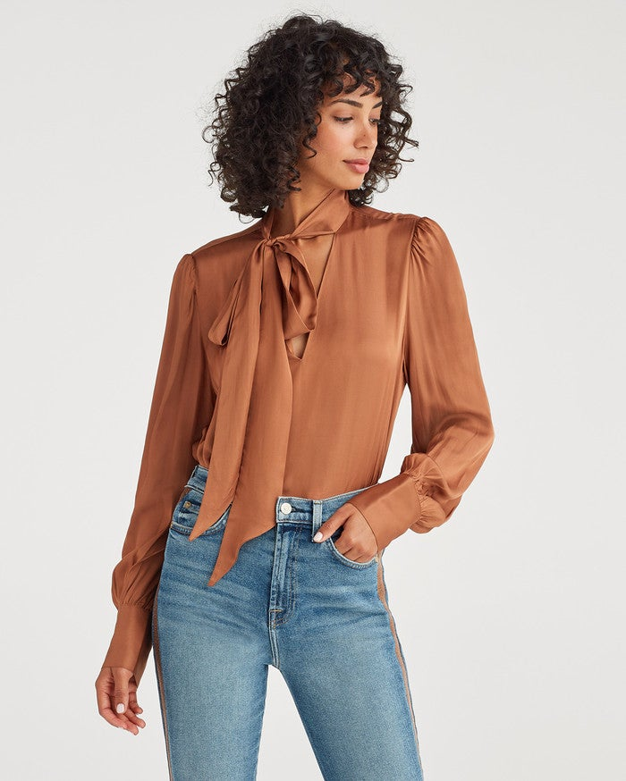 7 For All Mankind V-Neck Tie Neck Top in Penny