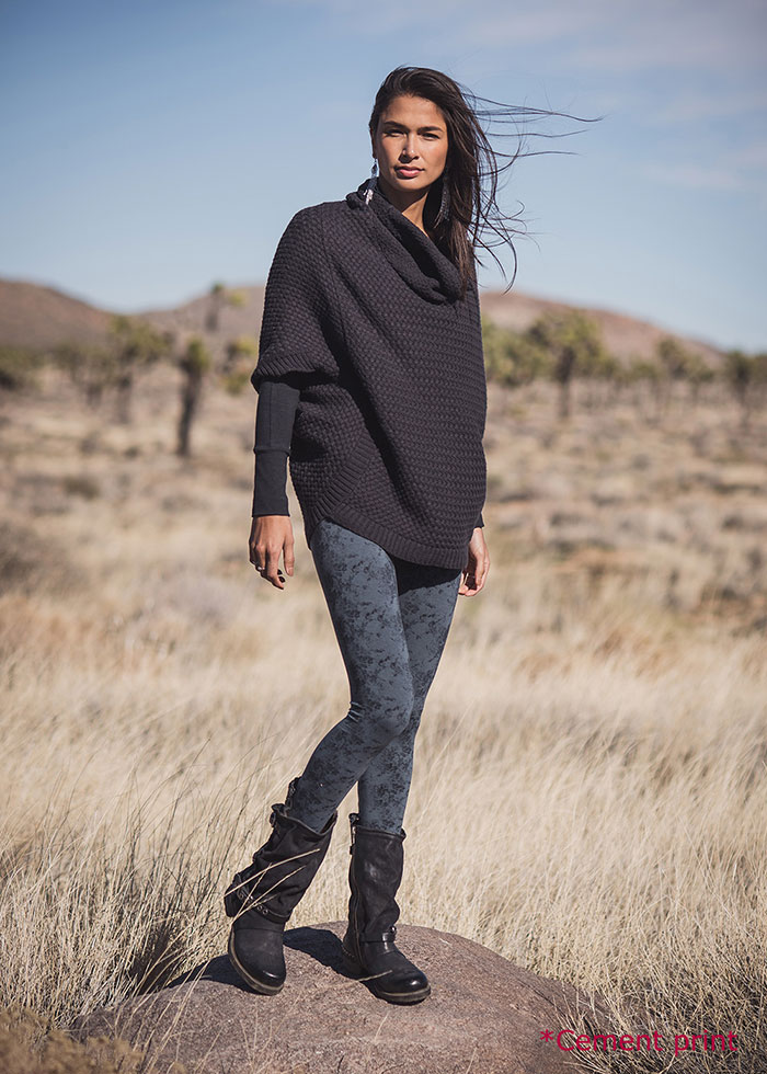 Nomads Hemp Wear Moonlight Poncho and Spectrum Leggings in Cement