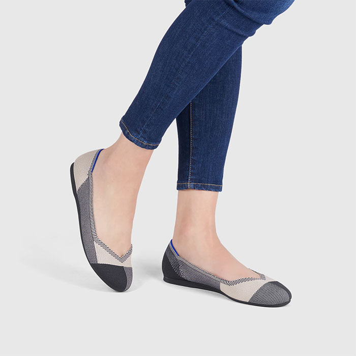 Rothy's Flat Shoe in Captoe Black