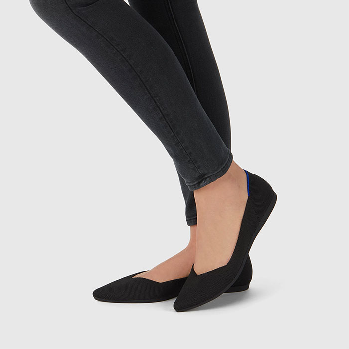 Rothy's Pointed Shoe in Black Solid