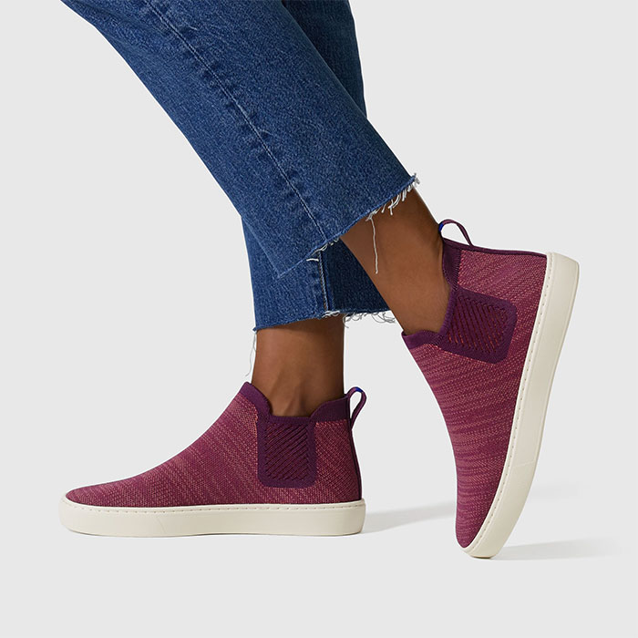 Rothy's sustainable footwear - Chelsea Shoe in Plum Melange