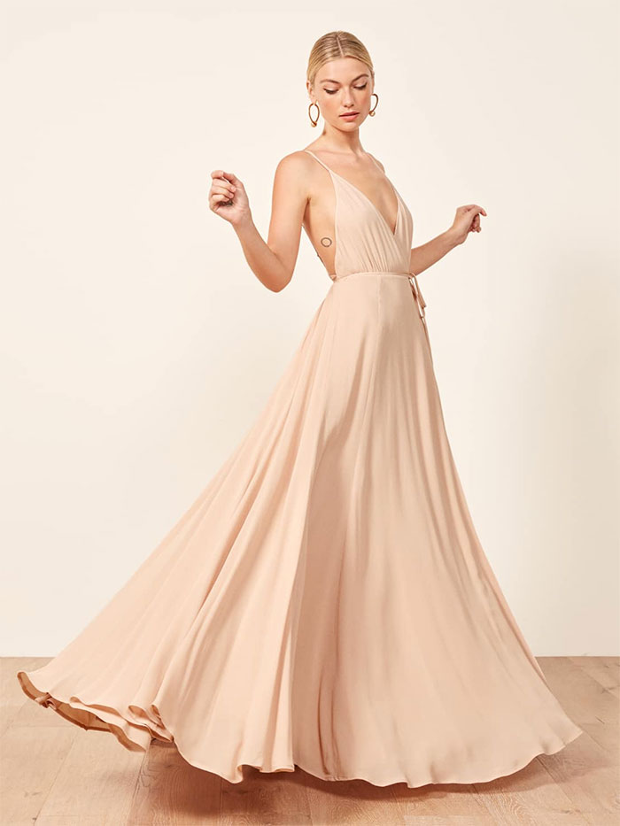 Reformation Callalily Dress in Champagne