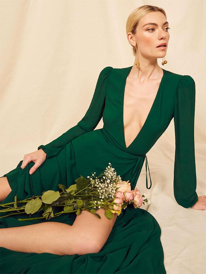 Reformation Milan Dress in Emerald