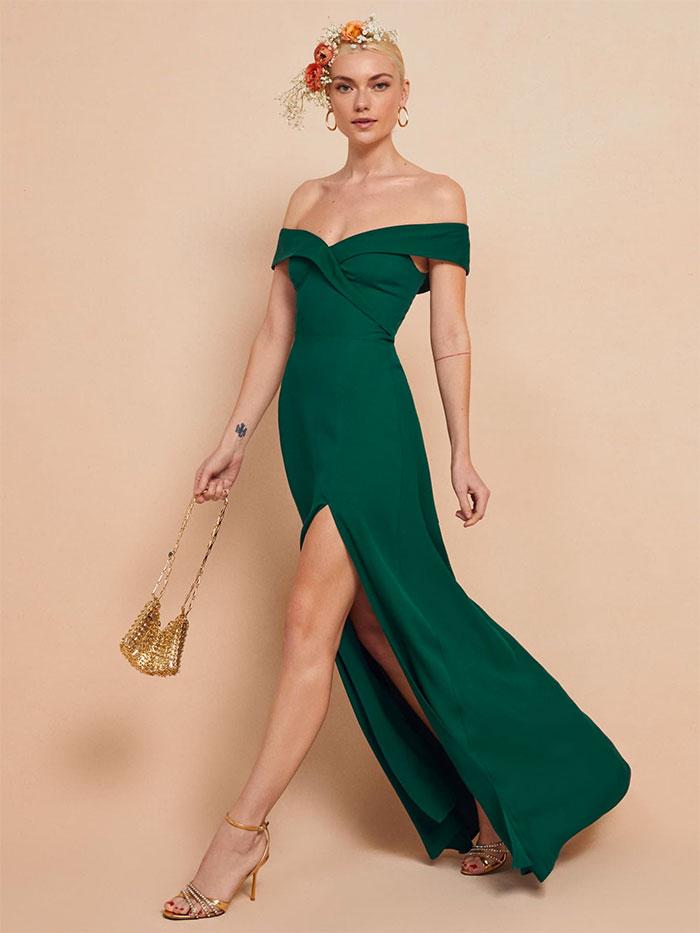 Redford Dress in Emerald
