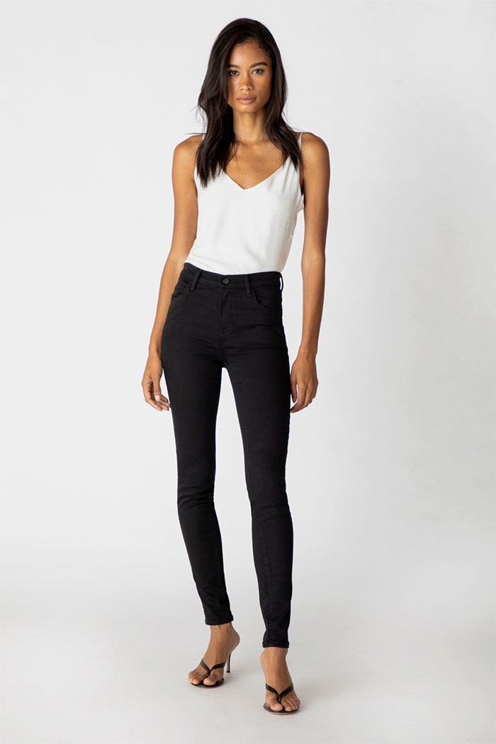 J Brand Maria High-Rise Skinny Jeans In Eco Seriously Black