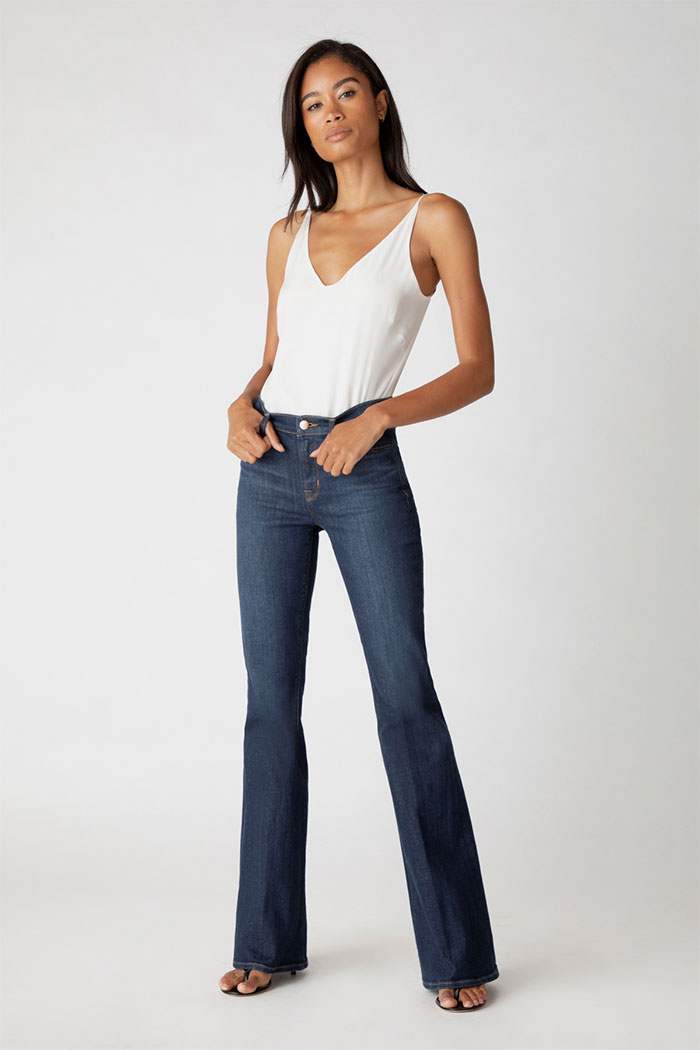 J Brand Valentina High-Rise Flare Jeans In Everlast