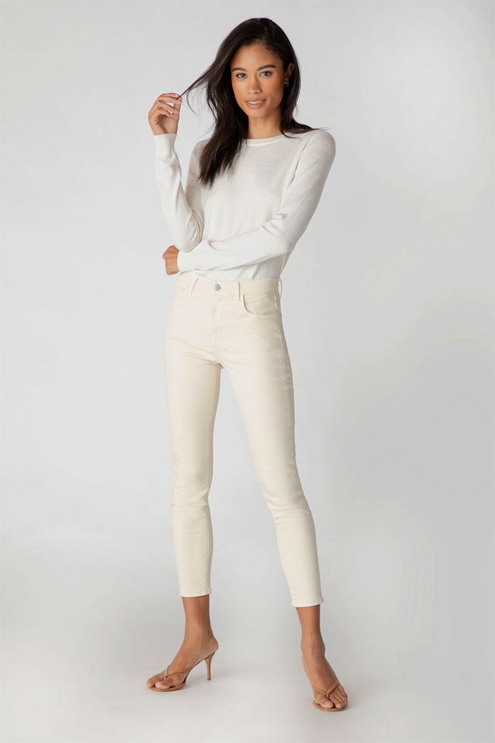 J Brand Alana High-Rise Cropped Skinny In Photo Ready Jeans in Macadamia