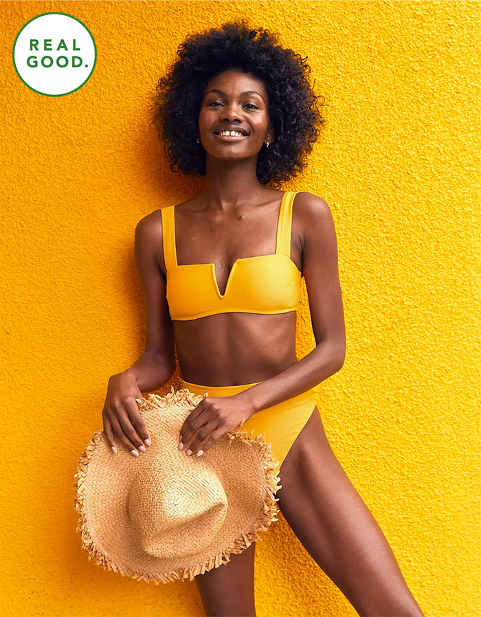 The Real Good Swim Collection by Aerie - V Bandeau Top and High Cut Cheeky Bottom