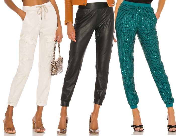 Comfortable and Stylish Joggers for Working at Home - Linen, faux leather and sparkles