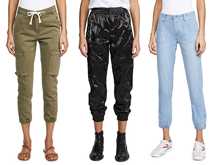 Cargo, satin and denim joggers