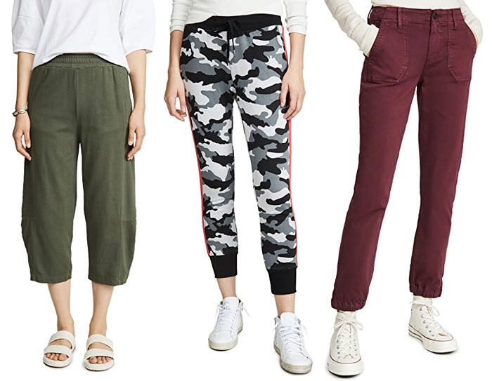 Wide leg, camo and denim joggers