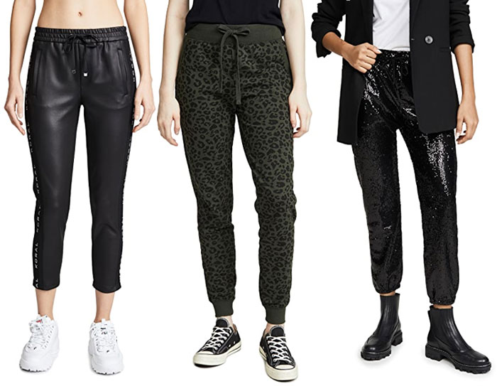Neprene knit, leopard and sparkly joggers