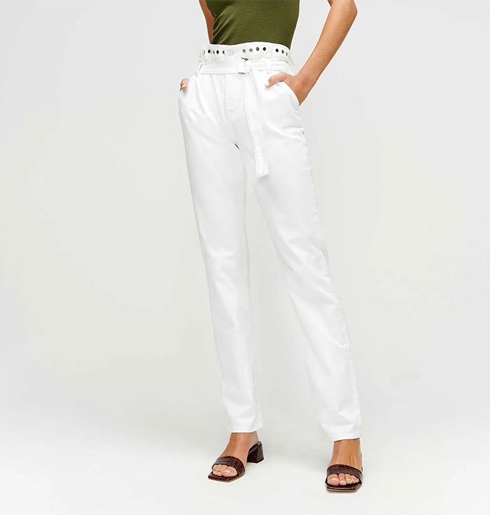 White Denim from 7 For All Mankind - Half Belt Paper Bag Jean with Studs