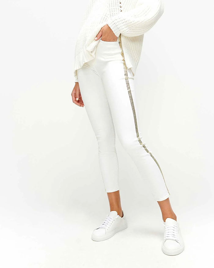 7 For All Mankind - High Waist Skinny with Gold Stripe
