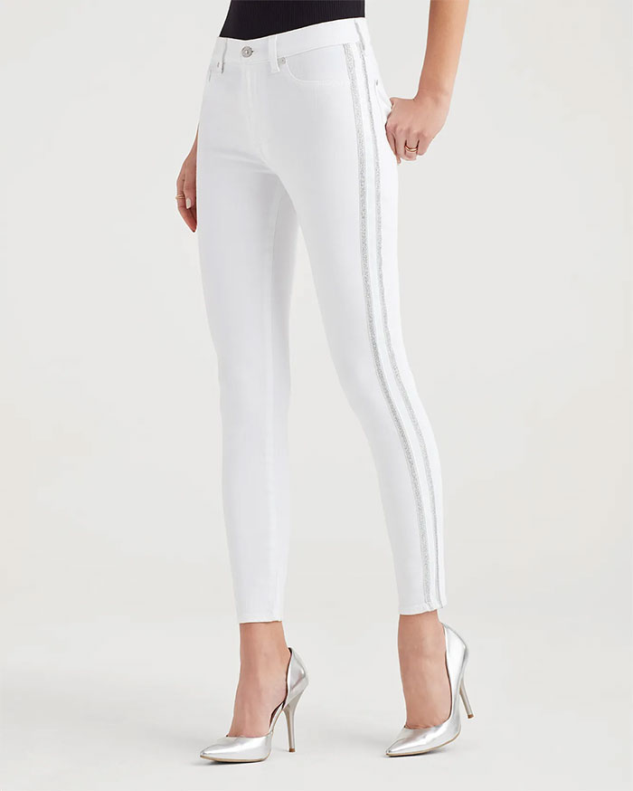 7 For All Mankind - High Waist Skinny with Silver Stripe