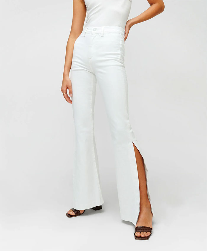White Denim from 7 For All Mankind - Slit Flare in Prince Street