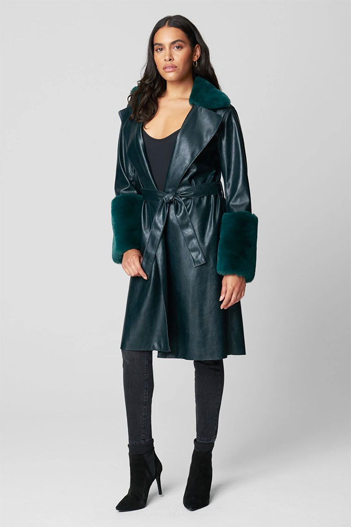 BLANKNYC - PU Trench Coat with Faux Fur Trim