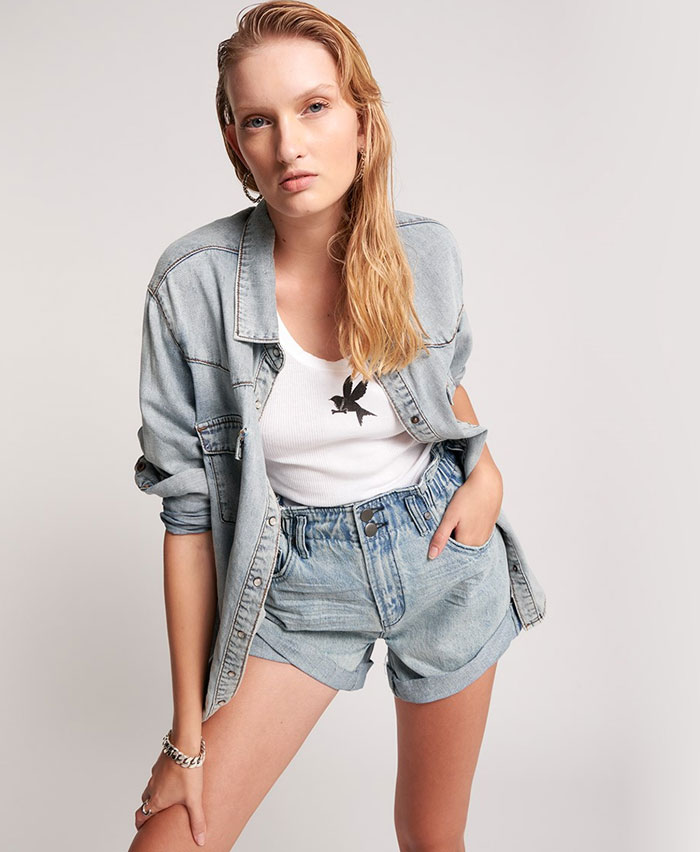 Edgy Street Style Looks from One Teaspoon - Liberty Shirt and Salty Dog Pioneer High Waist Shorts