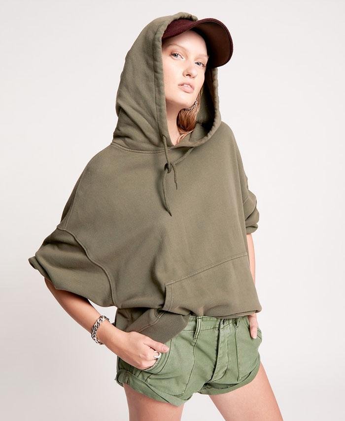Edgy Street Style Looks from One Teaspoon - Lightning Bolt Khaki Hoodie and Khaki Bandit Cargo Shorts