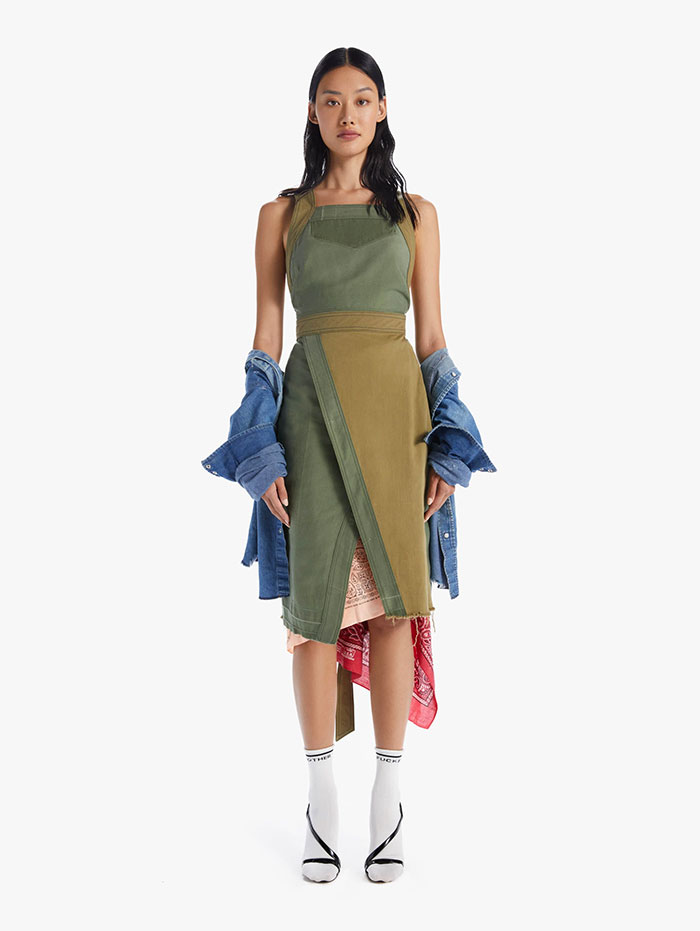 Recycled Denim Capsule Collection by MOTHER - The Crossover Step Fray Dress