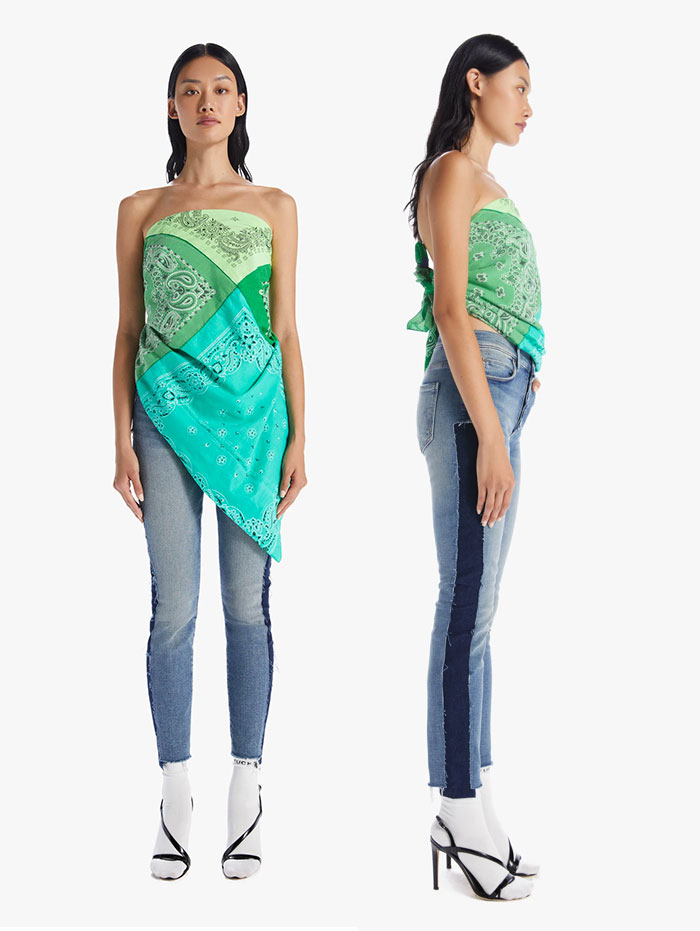 60% MOTHER Recycled Denim Capsule Collection by MOTHER - The Four Corners Scarf and Cut and Sew Stunner Ankle Fray Jeans