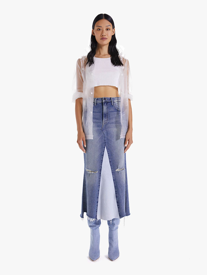 Recycled Denim Capsule Collection by MOTHER - The Mended Maxi Skirt