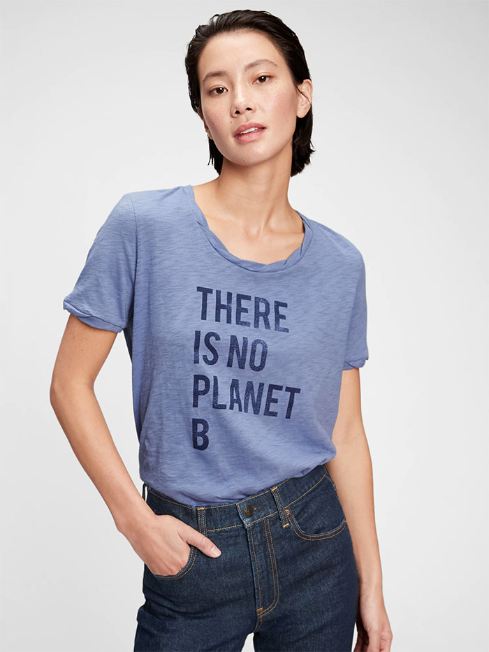 Gap Takes on Ethical and Sustainable Style with Generation Good - Graphic Tee Shirt - Larkspur Blue