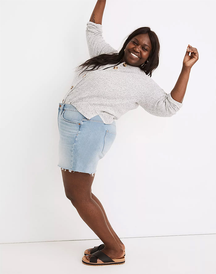 Madewell Summerweight Denim - Plus Size High Rise Short in Watt