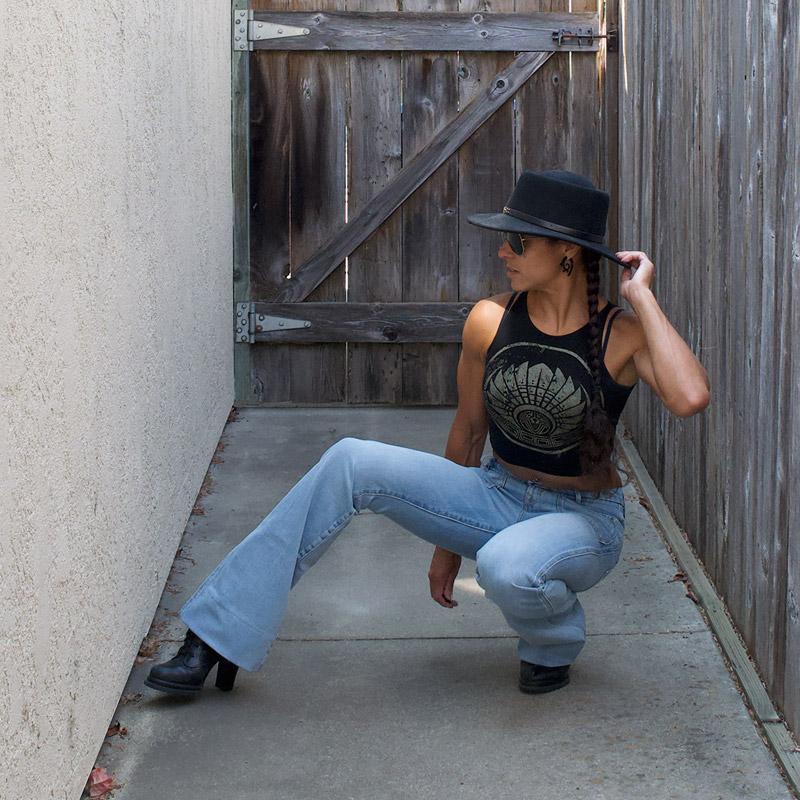 Porter Blue Apparel - Wanderer Flare Jeans - Squatting on Ground